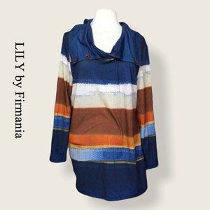 Lily by Firmiana Striped Tunic Top Size L